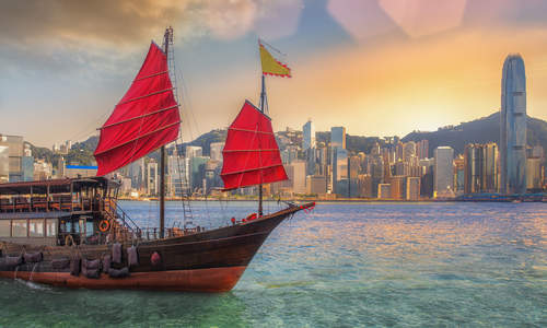 A traditional Sampan on Hong Kong Harbour
