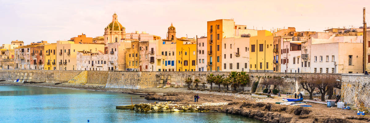 Trapani panoramic view of harbor, Sicily, Italy