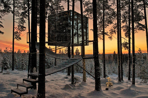 The Treehotel's Mirror Cube at sunset