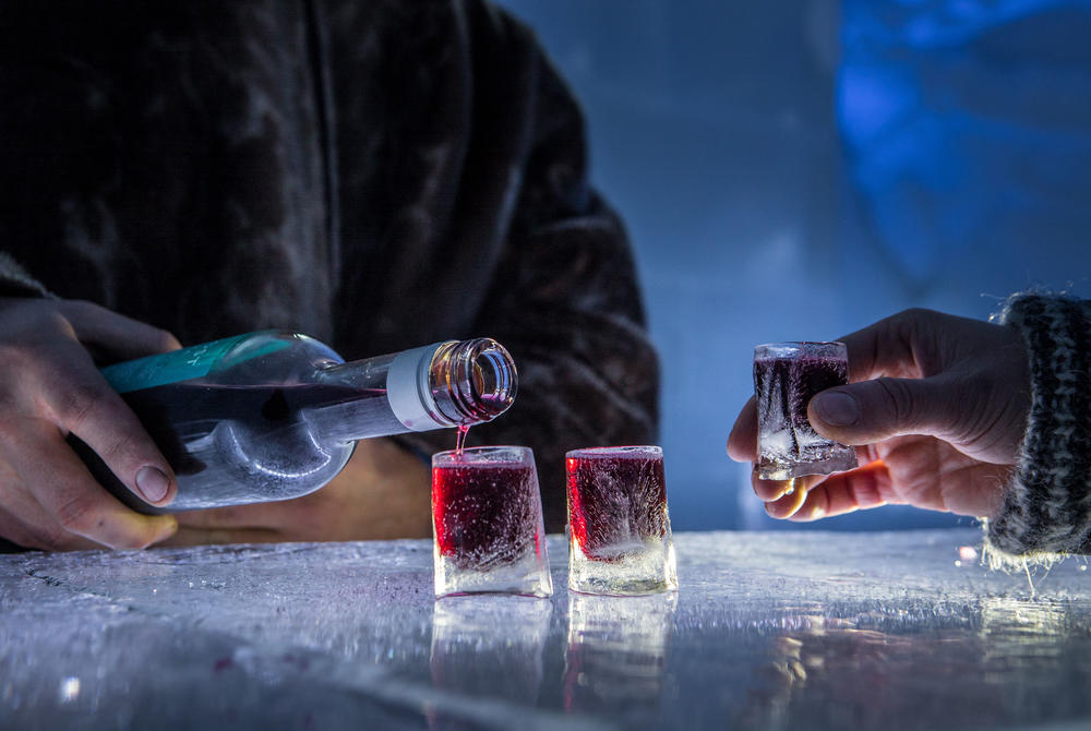 Drinks in the ice bar at Tromso Ice Domes, Norway