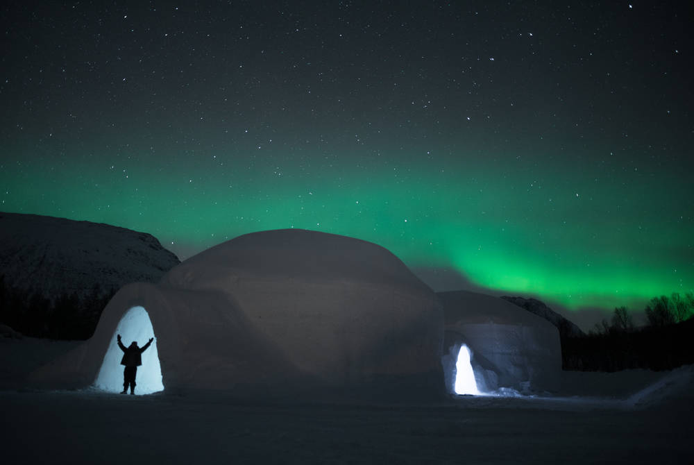 Northern Lights over Tromso Ice Domes