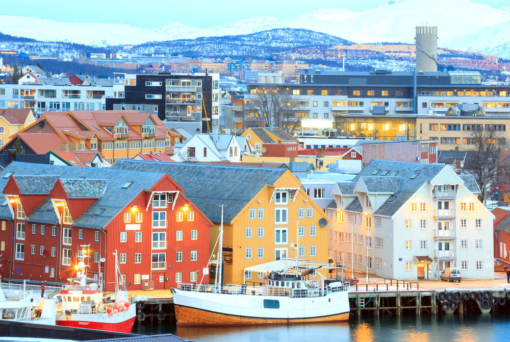 Colourful buildings on harbour at Tromso, Norway