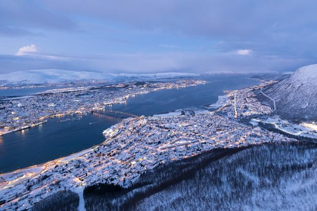 View of Tromso from its cable car
