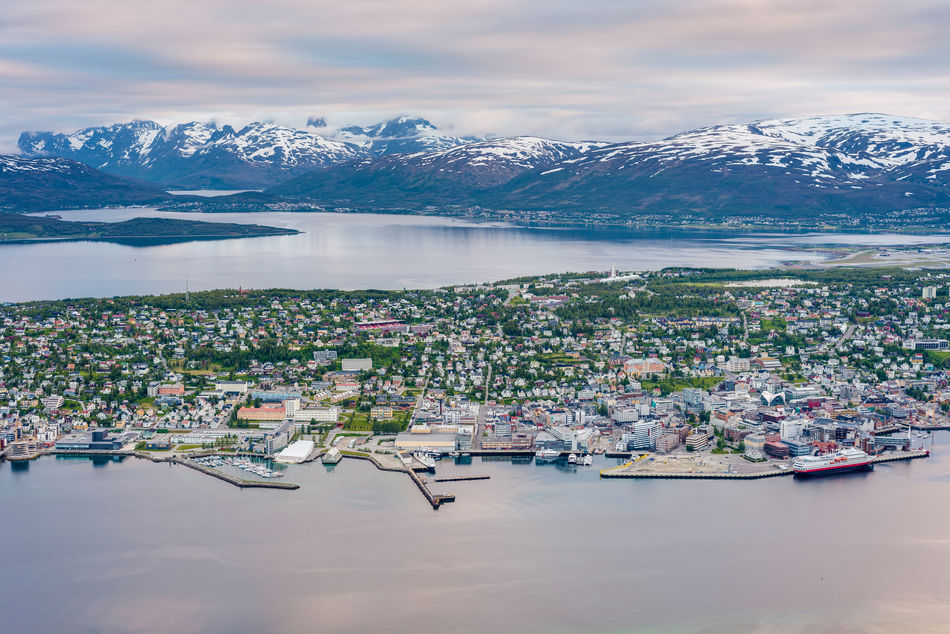 The Arctic city of Tromos, Norway under the Midnight Sun
