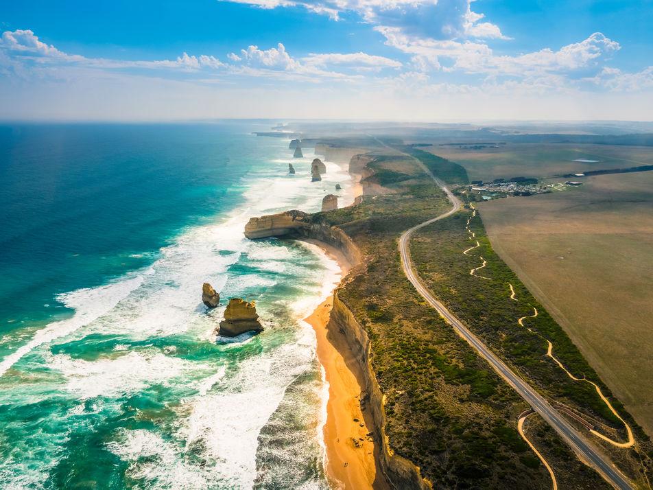 The Great Ocean Road in Melbourne in Victoria Australia