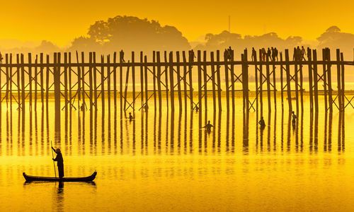 U Bein Bridge at sunset, Burma, Asia