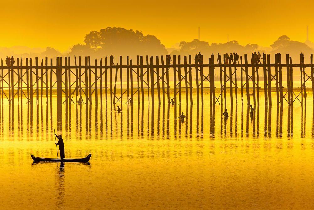 U Bein Bridge at sunset, Burma, Asia