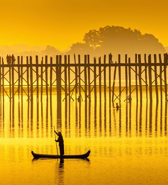 Sunset at U-Bein Bridge, Myanmar, Burma, Asia