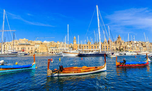 Valletta port and colourful boats, Malta