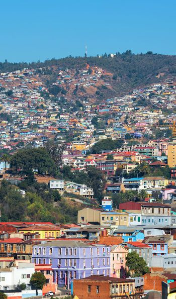 Colourful houses and mountainous background of Valparaíso in Chile