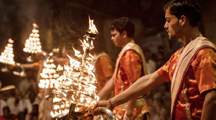 Worshippers at the Ganga Aarti ceremony, Varanasi, India