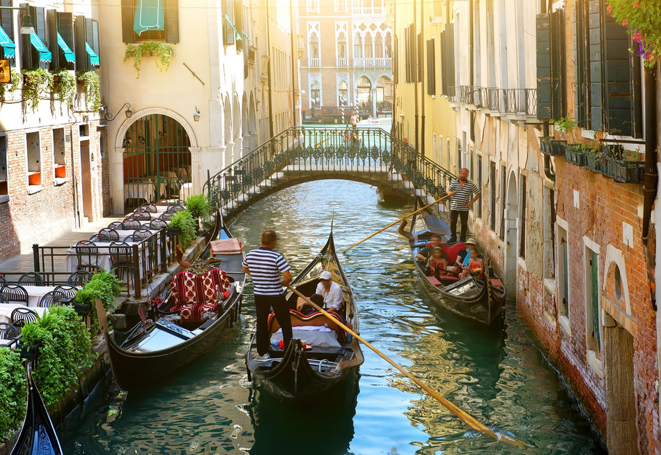 Traditional punts on the canals of Venice