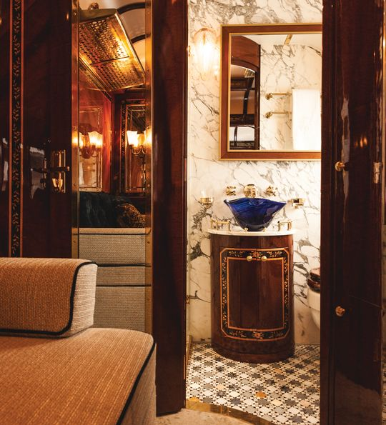The Venice Grand Suite shower room aboard the Venice Simplon-Orient-Express