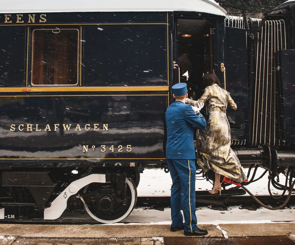 Woman boarding the Venice Simplon-Orient-Express