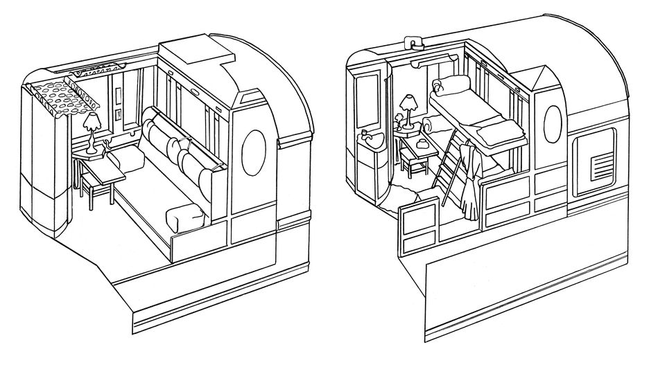 Twin cabin layout for Venice Simplon-Orient-Express