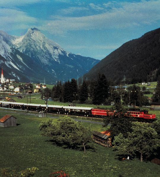 Venice Simplon-Orient-Express passing the Alps