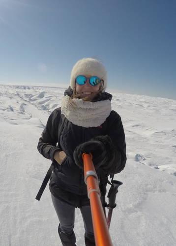 Victoria Jusko on a glacier in Kangerlussuaq, Greenland