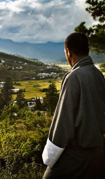 View down Paro Valley with staff, Uma by COMO