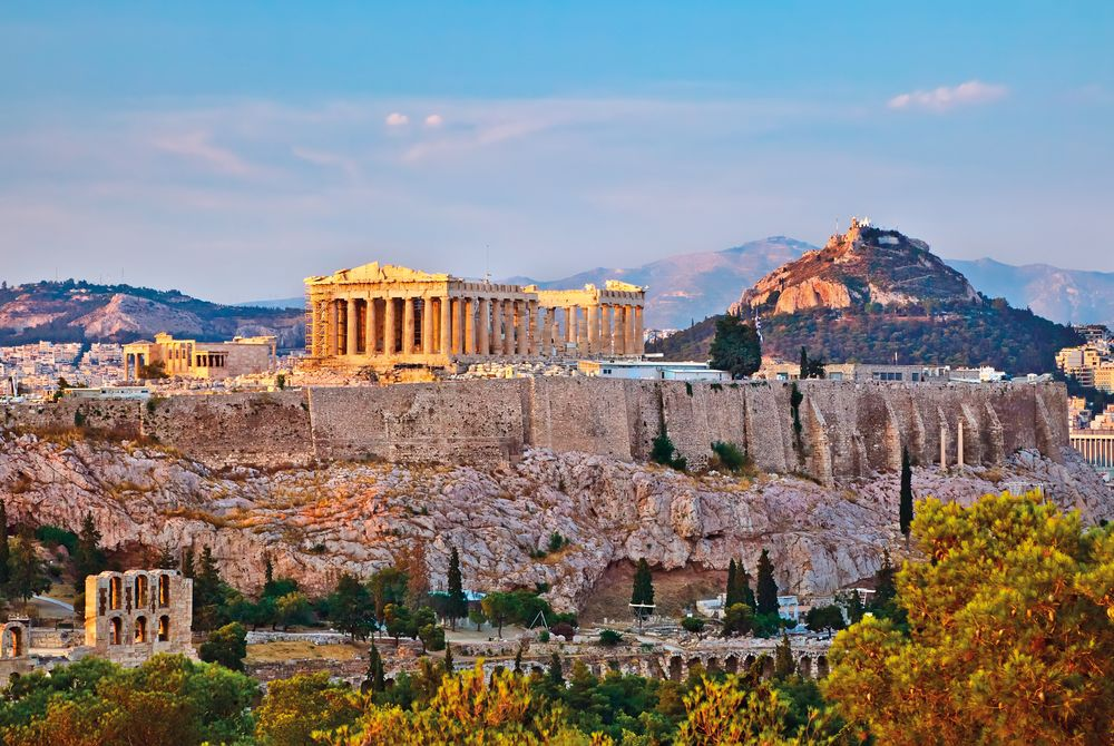 View of Acropolis at sunset, Athens, Greece, Europe