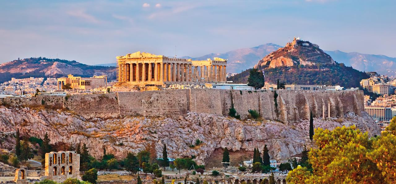 View of the Acropolis at sunset, Athens, Greece