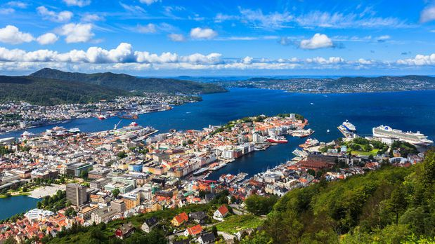 A view of Bergen and the fjords from the Floibanen funicular