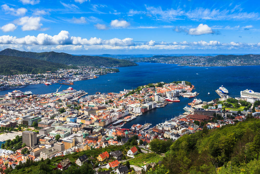 View of Bergen from the Floibanen funicular
