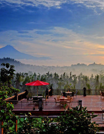 View of Borobudur from the restaurant, Plataran Borobudur