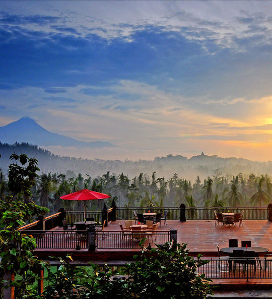 View of Borobudur from your accommodation's restaurant