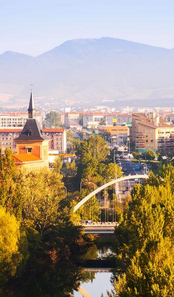 View of Pamplona with bridge over Arga