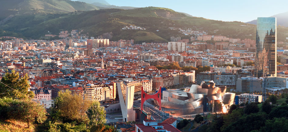 A view across Bilbao and the Guggenheim Museum, Basque region, Northern Spain