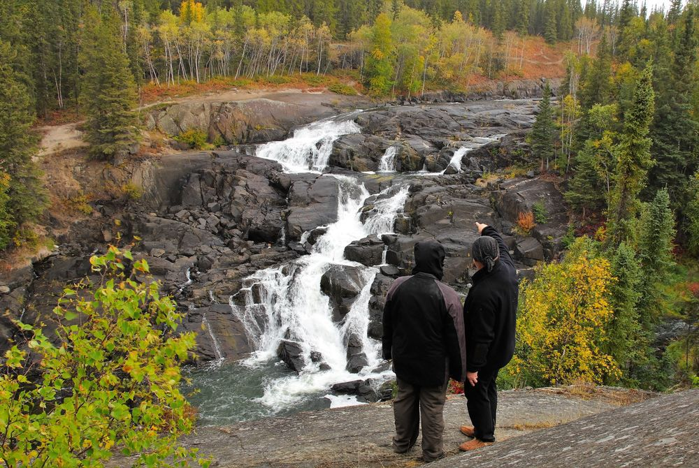 View over a waterfall during autumn in Yellowknife