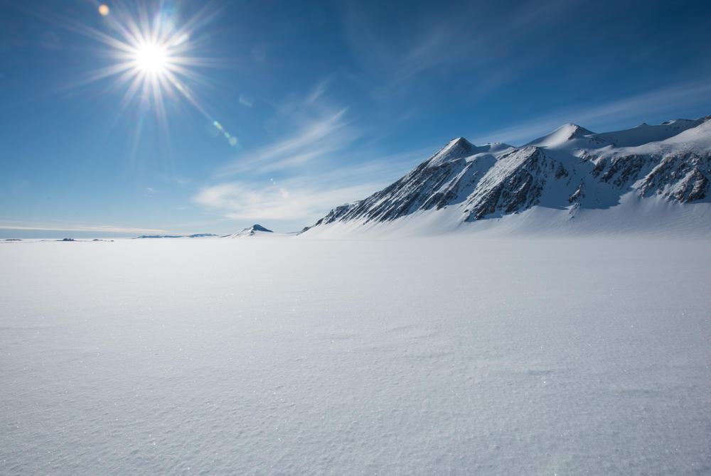 Sun shining over the Ellsworth Mountains in Antarctica
