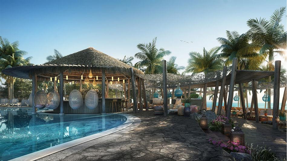 Pool area at The Beach Club, Bimini, Virgin Voyages