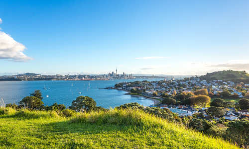 Views across Waitemata harbour to Auckland, New Zealand