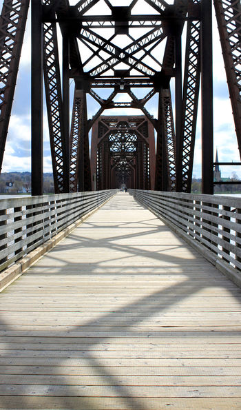 Walking bridge going over the Saint John River in Fredericton, New Brunswick, Canada