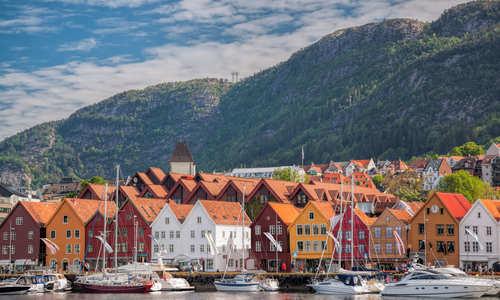 Waterside view of Bergen in the sunshine