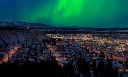 Whitehorse, Yukon, under the Northern Lights