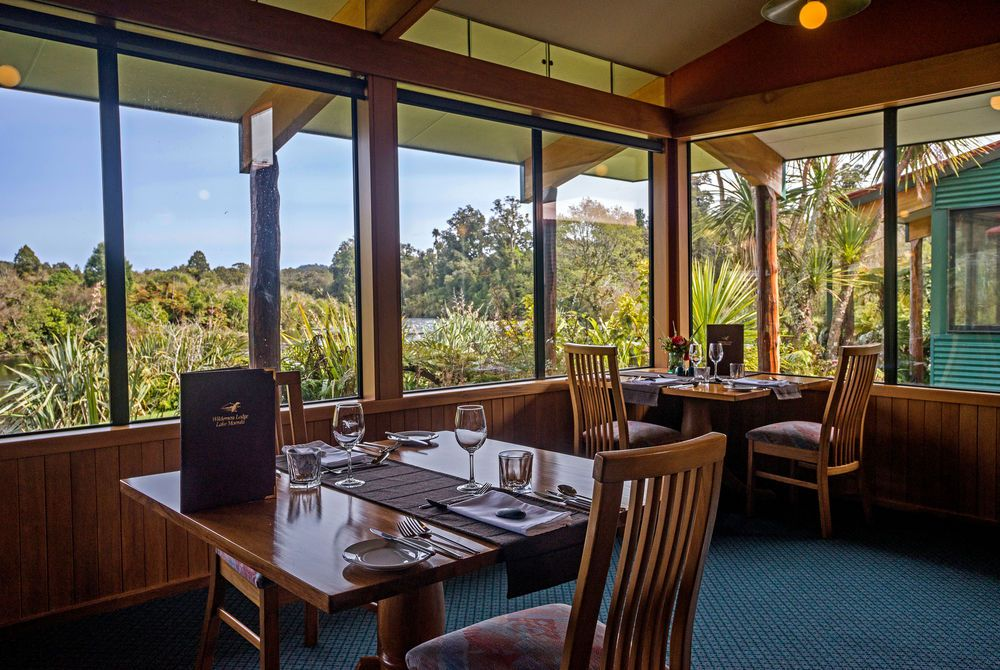 Wilderness Lodge dining room with view, New Zealand