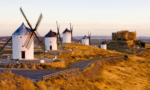 Windmills and castle, Consuegra, La Mancha