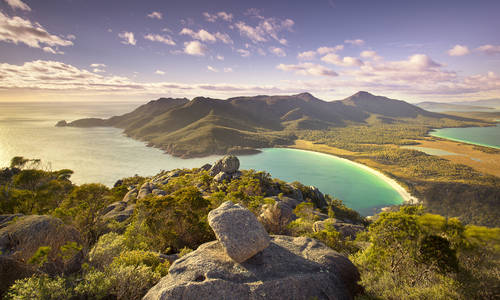 Wineglass Bay viewed from the top of Mt Amos