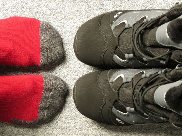 Warm socks and proper walking boots for Svalbard are required in winter