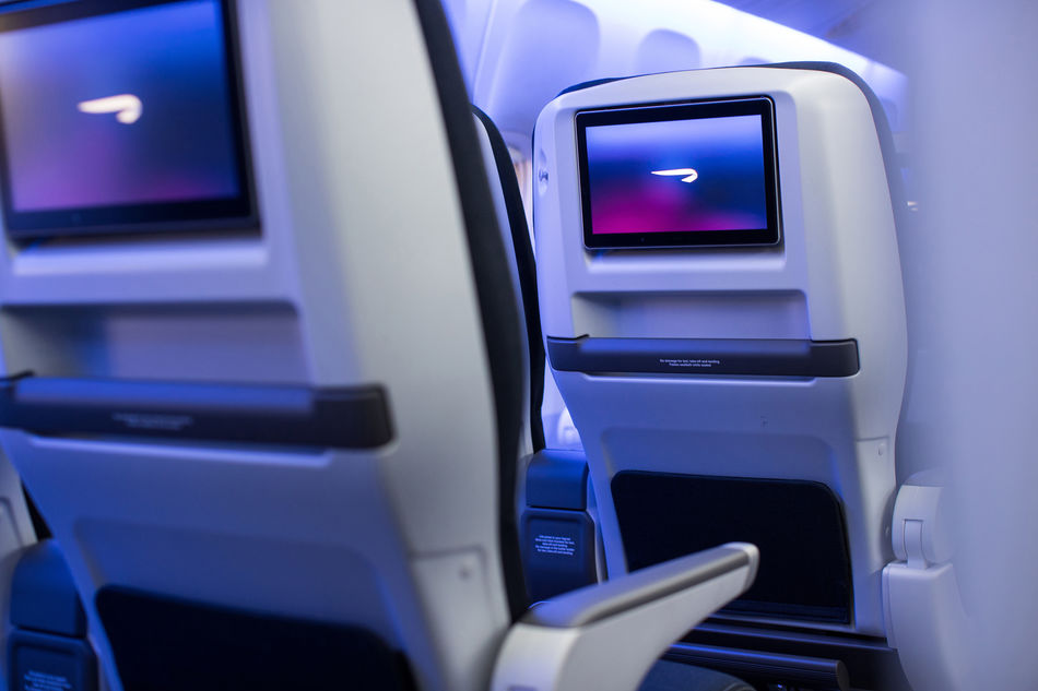 Upgraded World Traveller Plus cabin on British Airways' Boeing 777