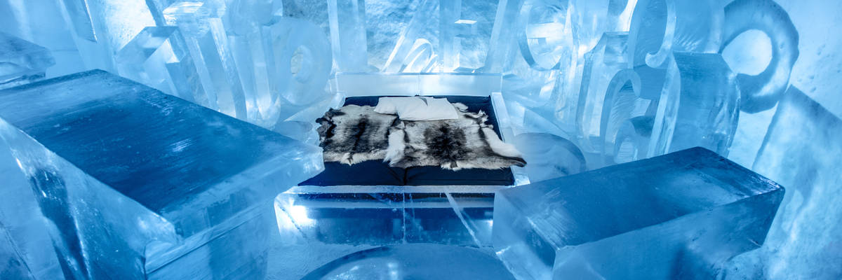 Experience the sensation of sleeping in a hotel carved entirely from ice