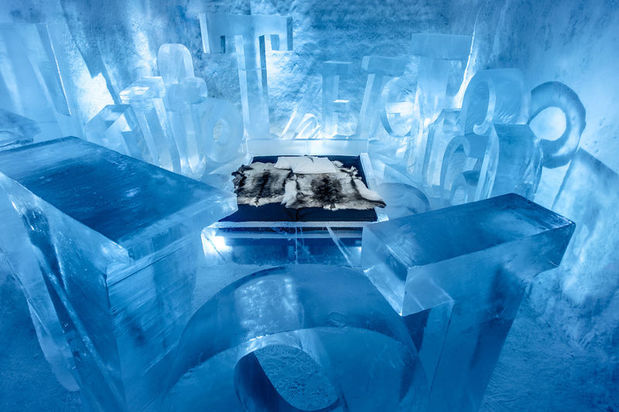 One of the 2016-2017 art suites at the ICEHOTEL called you are my type