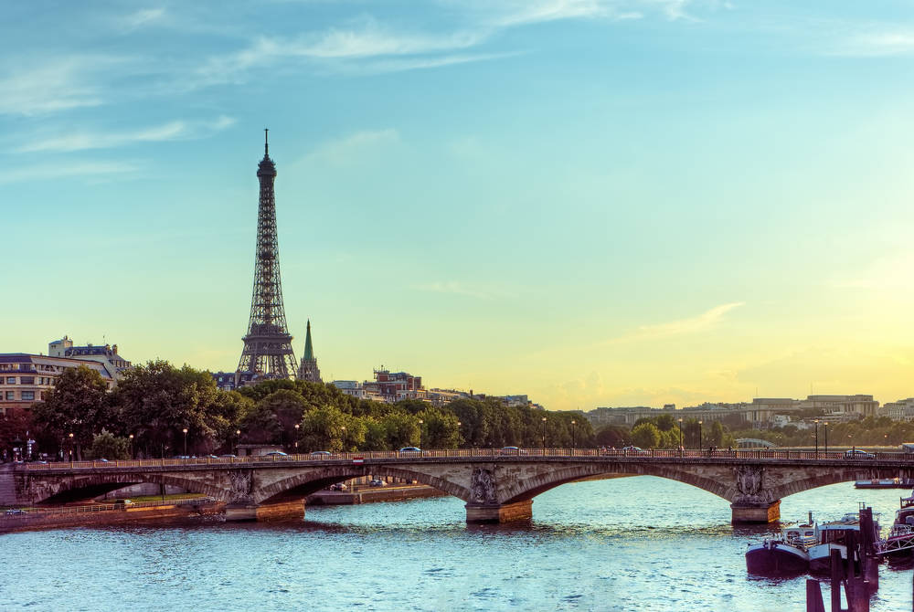 Eiffel tower and the Seine River, Paris