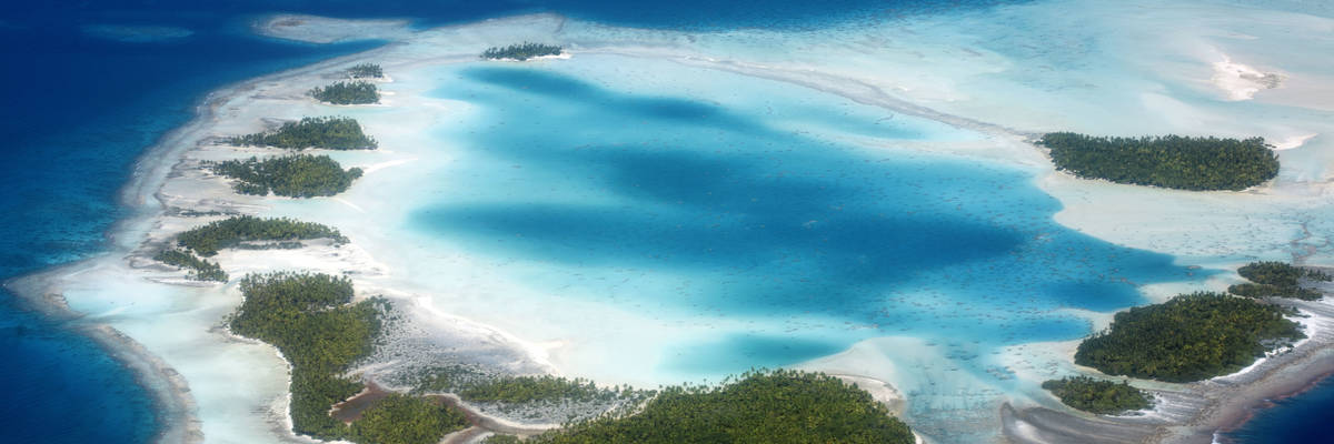 beautiful aerial view Rangiroa atoll in south pacific ocean