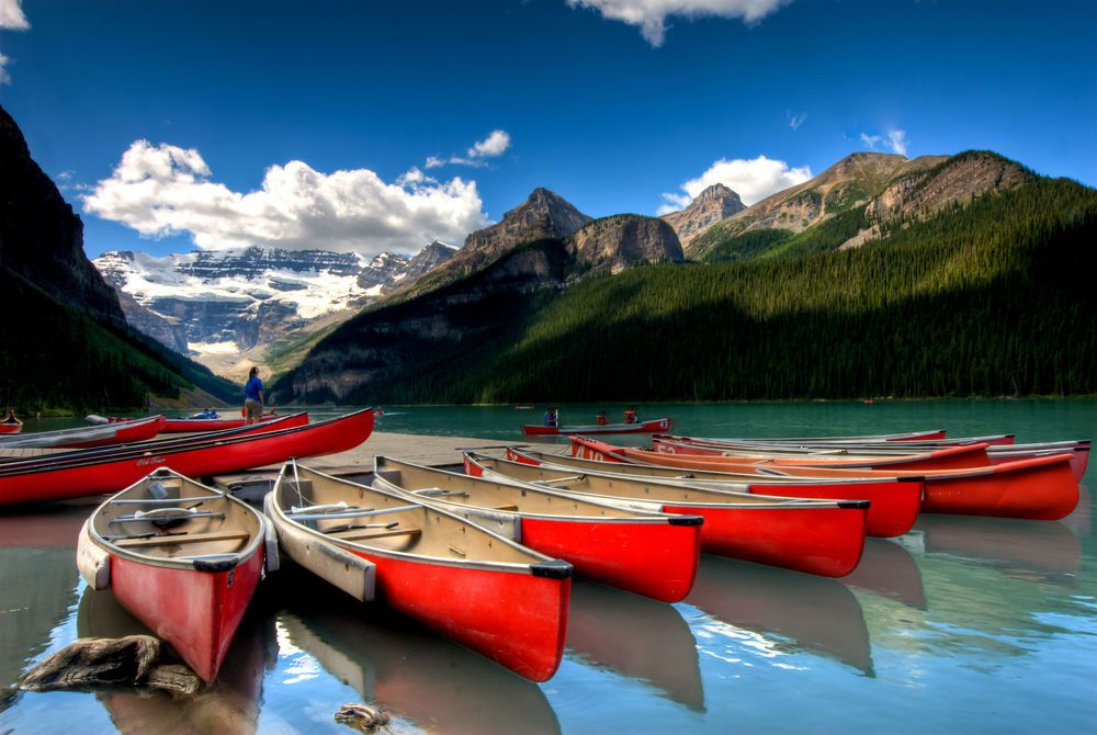 canoes on Louise Lake, Banff, Canada