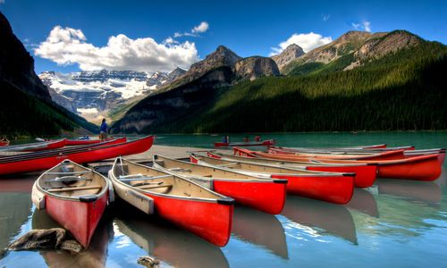 Canoes on Lake Louise, Banff