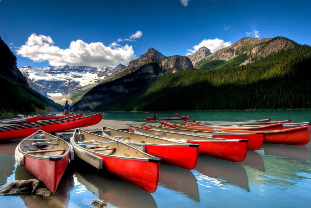 Canoes on Louise Lake, Banff
