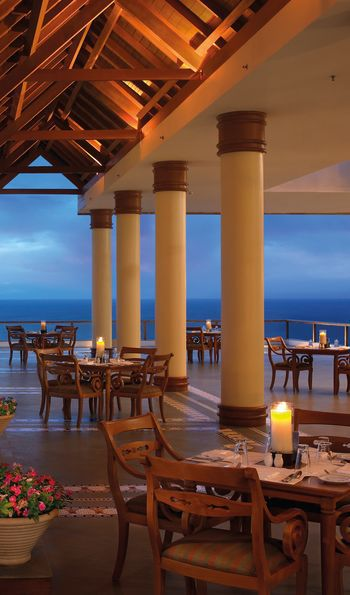 Poolside dining, The Leela, Kovalam, India